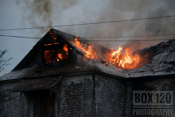 vacant house on fire