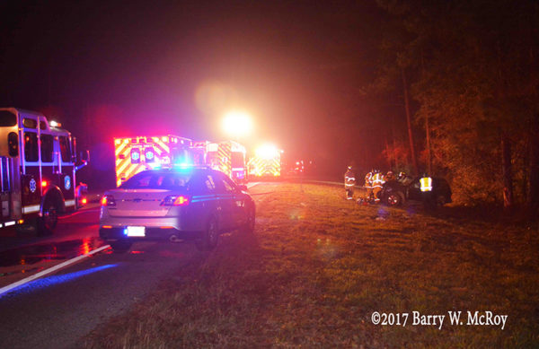 crash scene in rural South Carolina