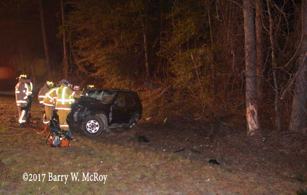 SUV crash on rural highway at night