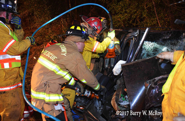 firefighters use Holmatro rescue tools to free victim from car
