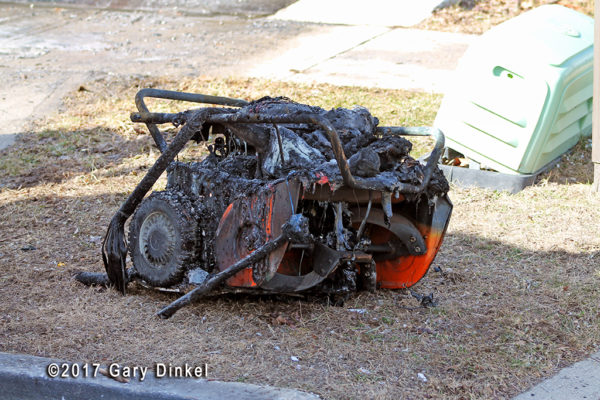 snow blower melted in fire