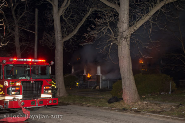 house fire at night in Detroit