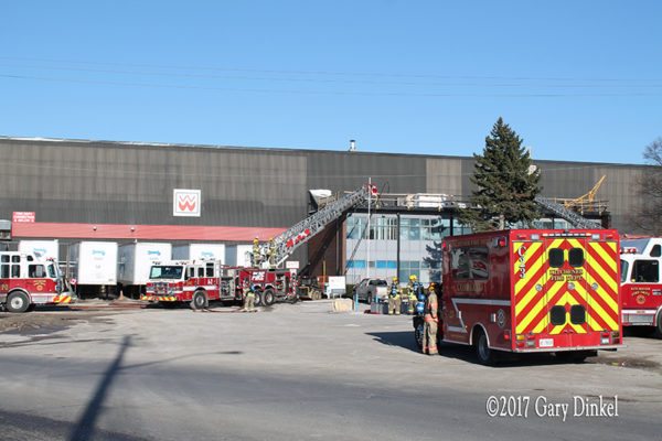 Kitchener fire trucks on scene