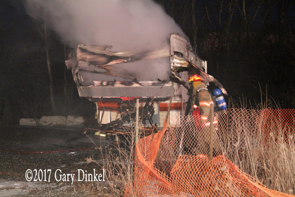 recreational trailer destroyed by fire