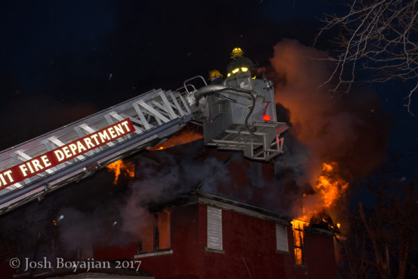 Sutphen tower ladder at work at night