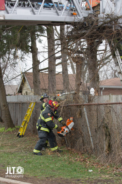 firefighters cut trees to assist with rescue