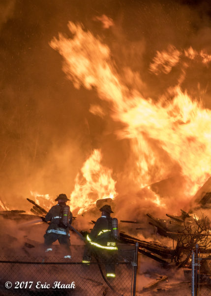 Detroit firefighters battle massive inferno