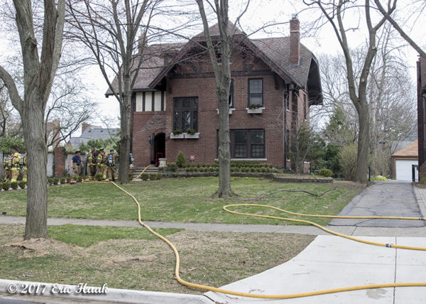 scene of a 2-alarm house fire in Grosse Pointe MI