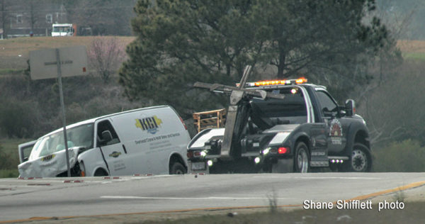 tow truck at crash site