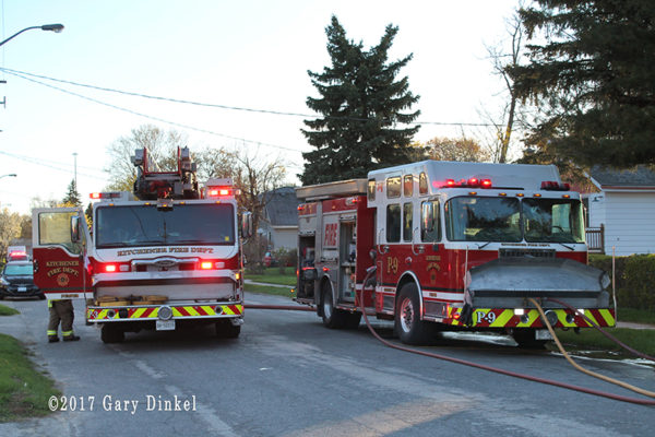 Kitchener fire trucks at fire scene