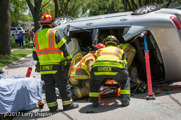 Firefighters free driver trapped in a car