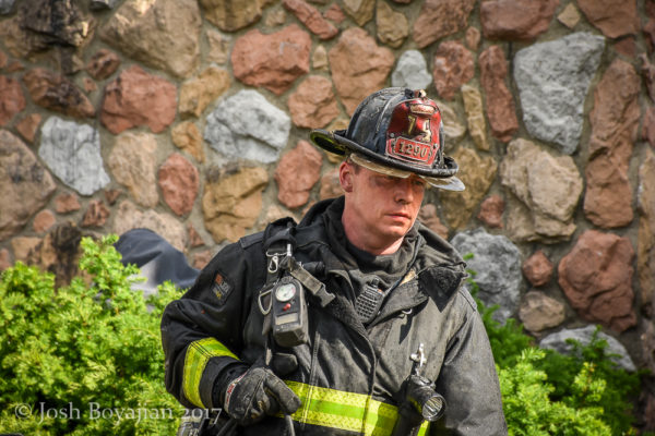 seasoned firefighter after battling a fire