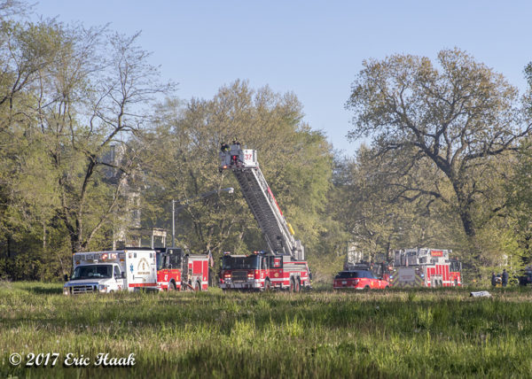 fire trucks at fire scene