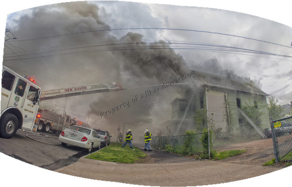 panoramic image of fire scene