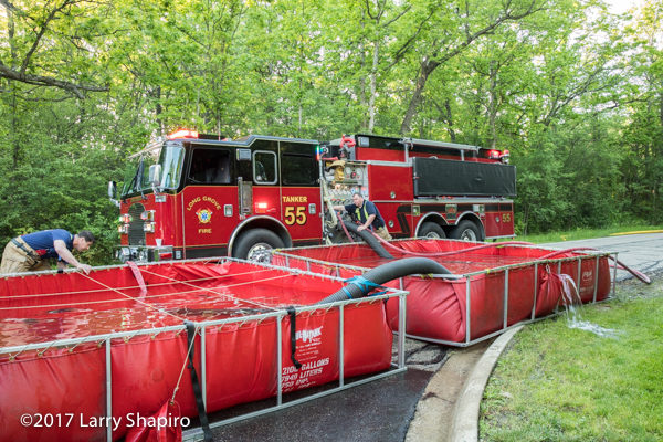 FD tanker drafting from portable tanks