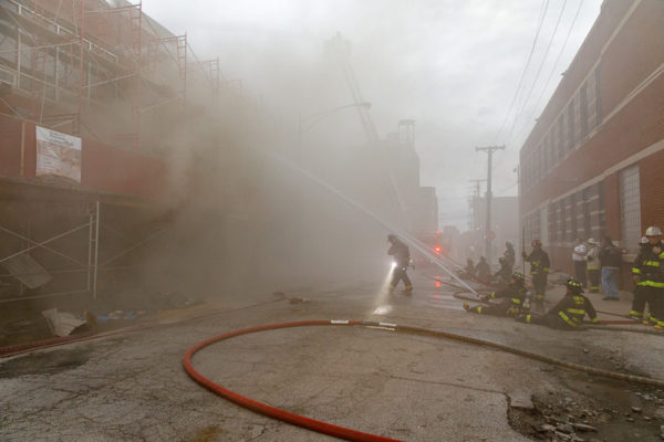 Chicago Firefighters battle commercial building fire
