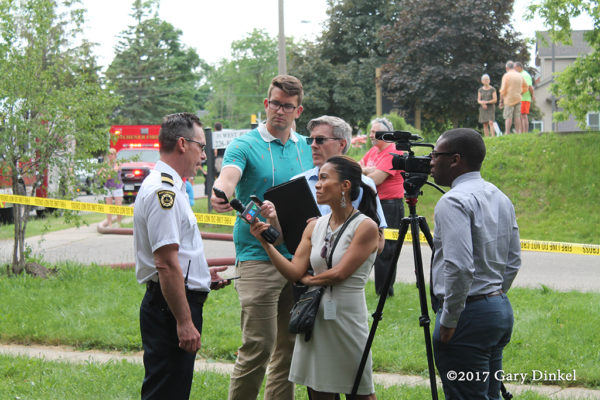 Kitchener fire chief interview by the media press briefing