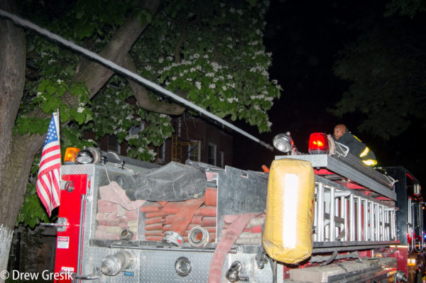firefighter blitzes house fire with deck gun