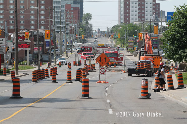 firefighters at site of major gas main rupture in Waterloo ON