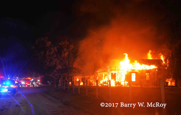 rural house fully engulfed in fore