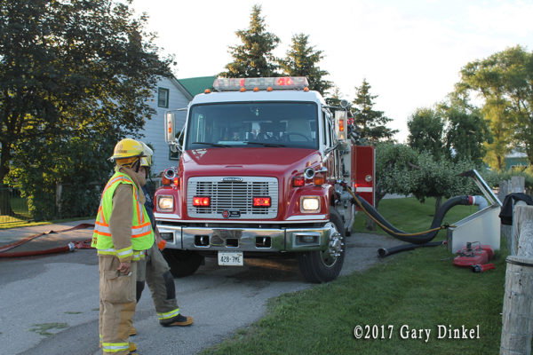 fire engine drafting from a cistern dry hydrant