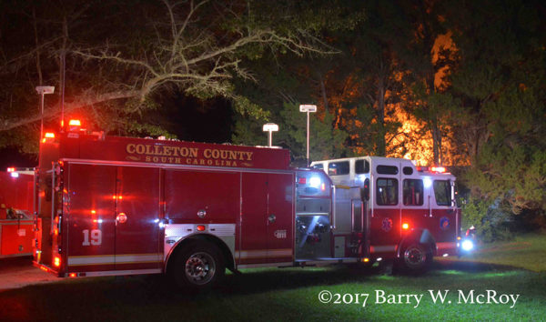 Colleton County E-ONE fire engine at house fire scene
