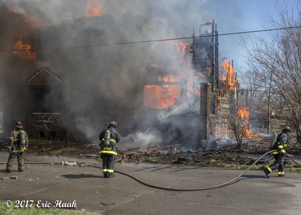 Detroit firefighters battle a commercial buildings fire