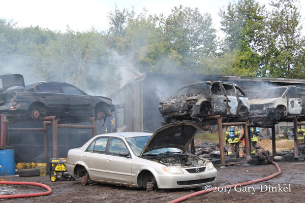 kitchener Ontario firefighters battle scrapyard fire