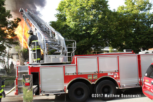 Detroit ladder truck with elevated master stream