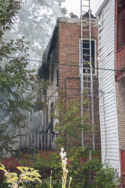 ground ladder at fire scene