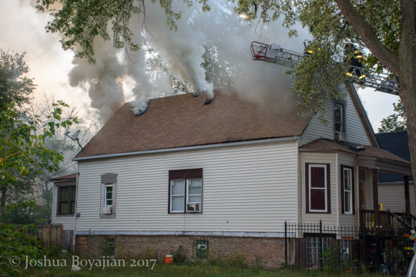 heavy smoke from attic fire