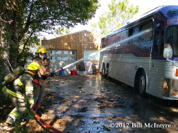 bus fire in New Dundee Ontario