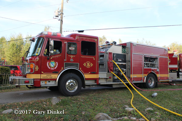 Cambridge FD American LaFrance fire engine pumping