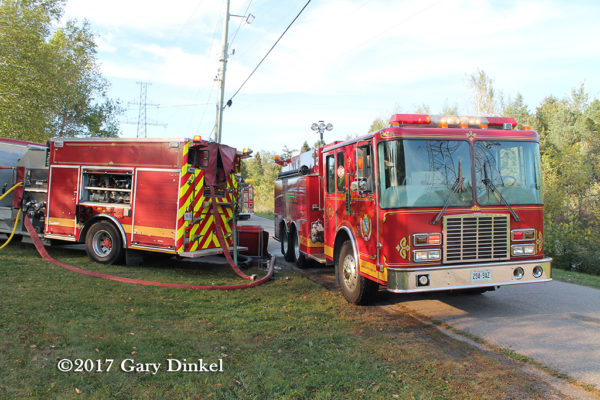Cambridge FD HME fire truck at scene