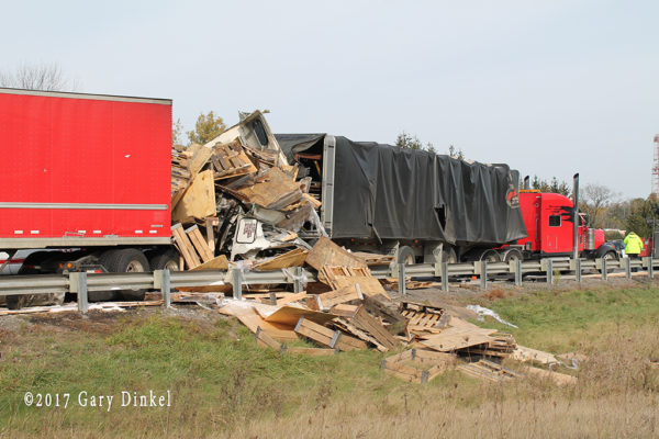 scene of a fatal truck crash on Highway 401 in Kitchener ON