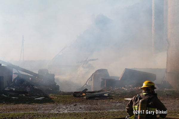 remnants of barn fire in Canada