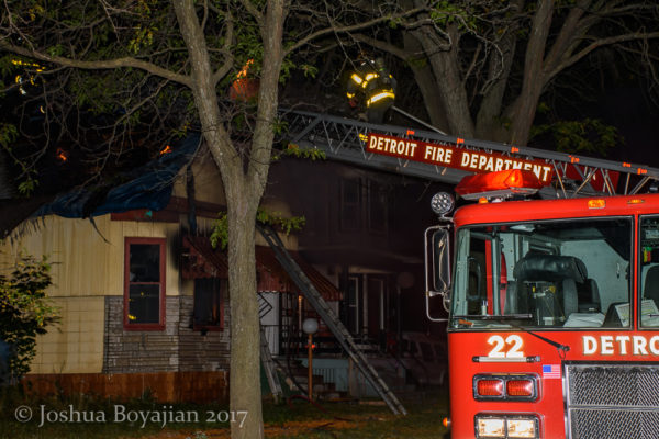 Detroit fire truck at house fire