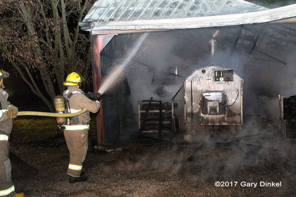 shed fire in Canada