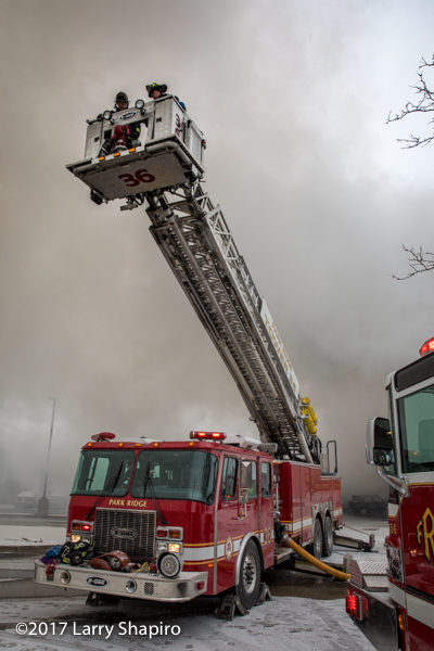 E-ONE tower ladder going to work