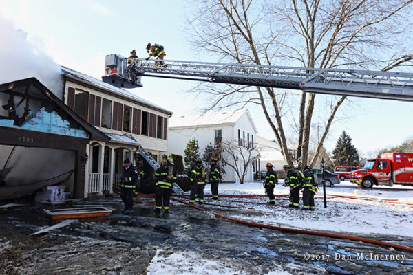 house fire scene in the winter