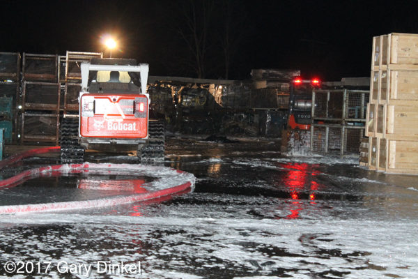 Bobcat skid steer at fire