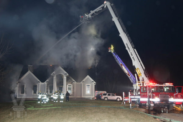 Cromwell FD battling a house fire