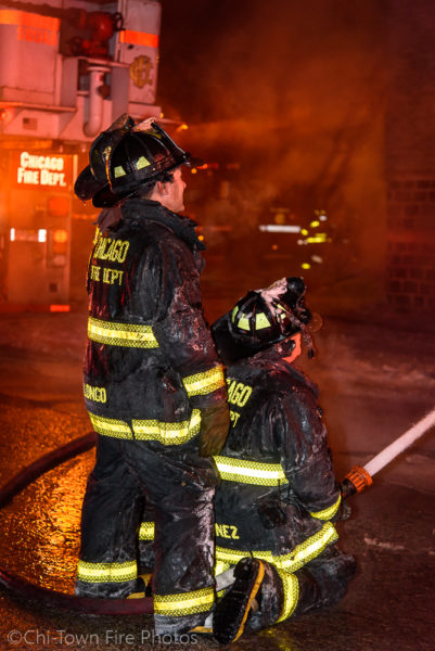 Chicago firefighters battle fire in a two-flat apartment building 1/4/18 where a firefighter fell through the floor. Chi-Town Fire Photos