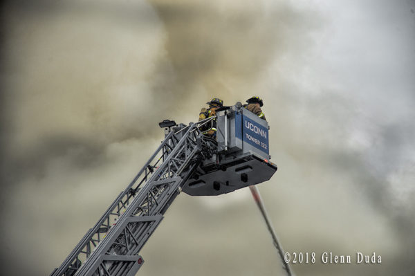 University of Connecticut FD Rosenbauer Commander Cobra tower ladder at work