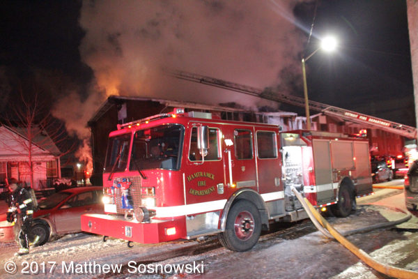 Hamtramck fire engine working in Detroit