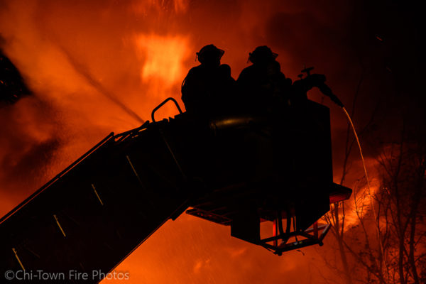 Detroit FD Sutphen tower ladder battles massive fire