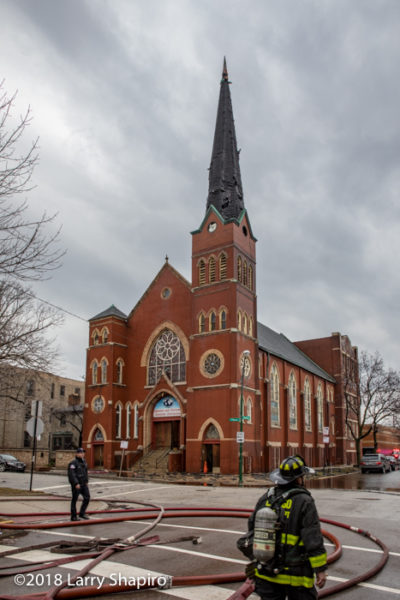 church after steeple fire