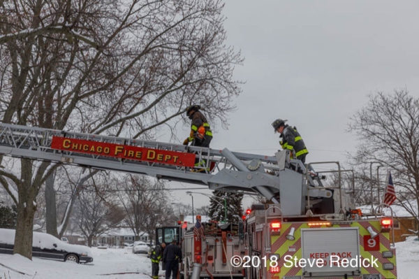 Chicago FD ladder truck at fire scene