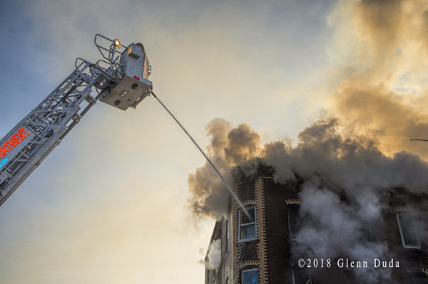 2-Alarm fire in New Britain CT with E-ONE tower ladder
