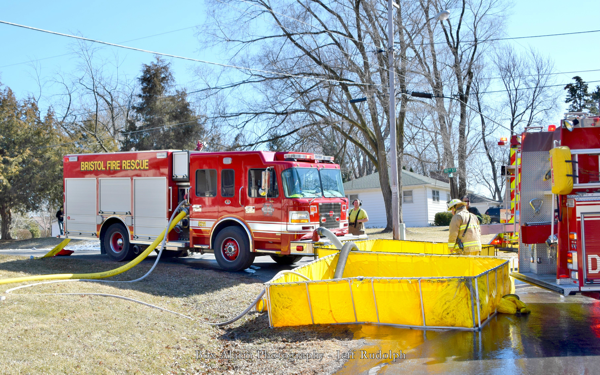 fire engine drafting from portable tank
